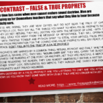 A Contrast – Signs of True & False Prophets